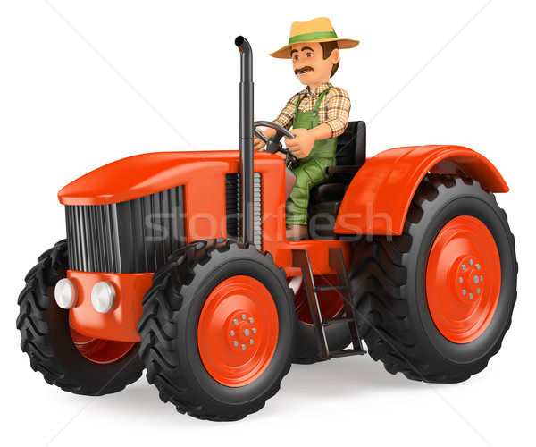 3D Farmer driving a tractor Stock photo © texelart