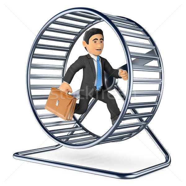 3D Businessman running on a hamster wheel Stock photo © texelart