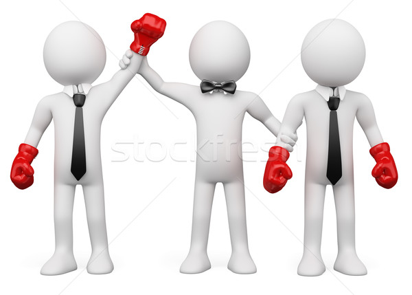 Stock photo: Boxing Referee choosing the winner between two businessmen