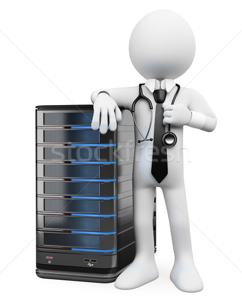 Stock photo: 3D white people. System administrator