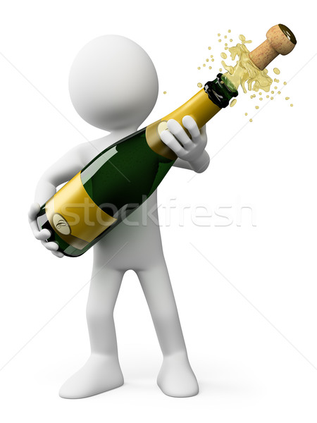 3D white people. Popping the cork of a bottle of Champagne Stock photo © texelart