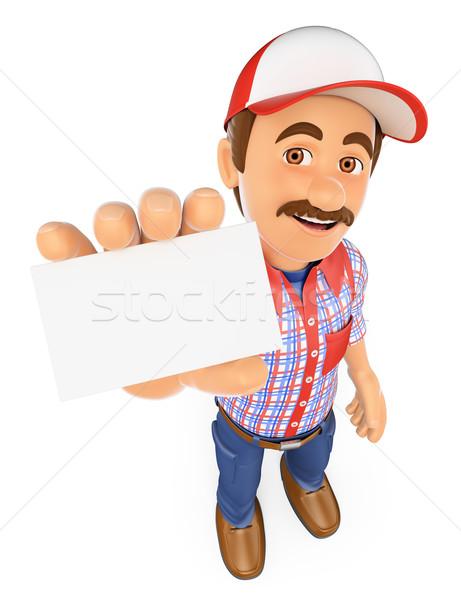 3D işçi boş kart çalışma insanlar Stok fotoğraf © texelart