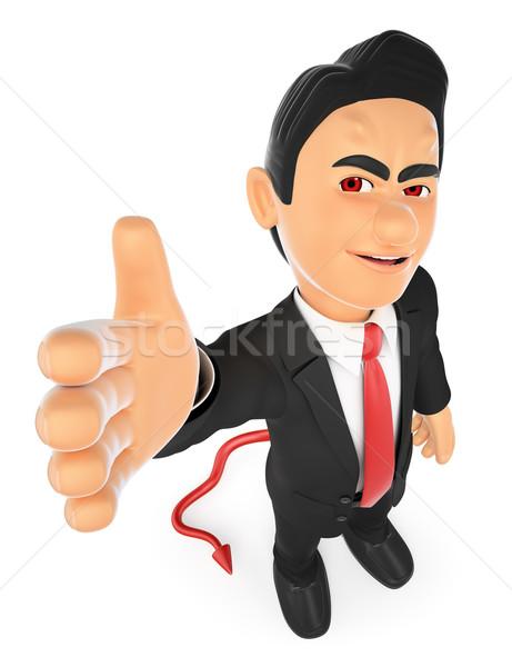 3D üzletember ördög felajánlás üzlet egyezmény Stock fotó © texelart