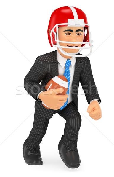 3D zakenman spelen amerikaanse voetbal sterkte Stockfoto © texelart
