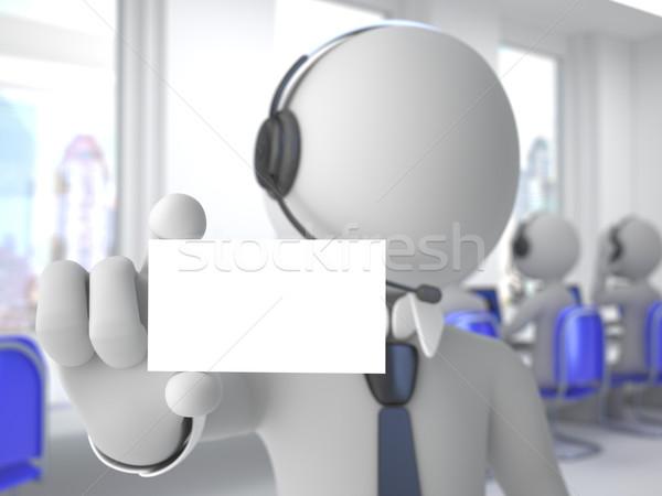 Call center operatör kulaklık mikrofon boş kart Stok fotoğraf © texelart