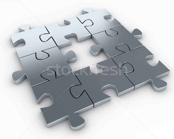 Photo stock: Pièces · de · puzzle · manquant · pièce · milieu · rendu · élevé