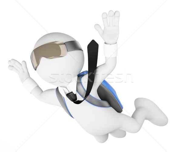 3D white people. Financial risk concept. Leap into the void Stock photo © texelart
