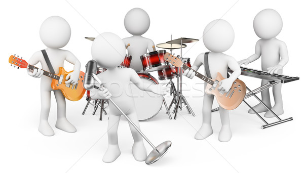 3D white people. Music group playing live Stock photo © texelart