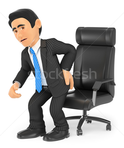 3D zakenman rugpijn zakenlieden geïsoleerd witte Stockfoto © texelart