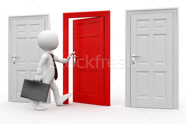 Man with briefcase entering a red door Stock photo © texelart