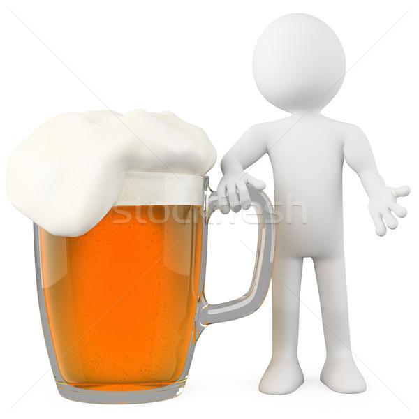 Zdjęcia stock: Człowiek · piwo · jasne · pełne · świadczonych · wysoki