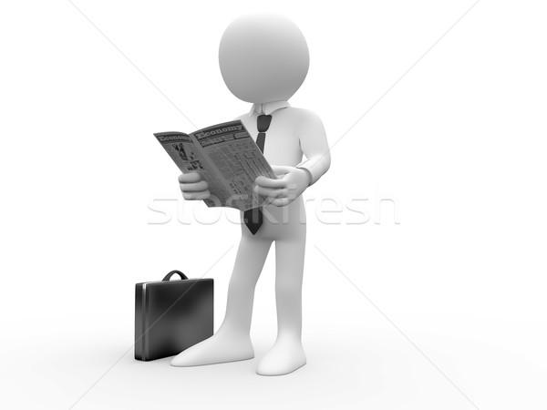 Stok fotoğraf: Okuma · gazete · evrak · çantası · zemin · gömlek