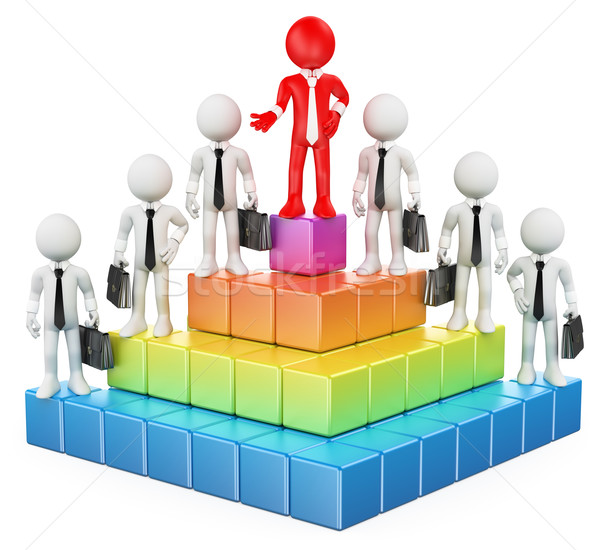 3D white people. Business hierarchy Stock photo © texelart