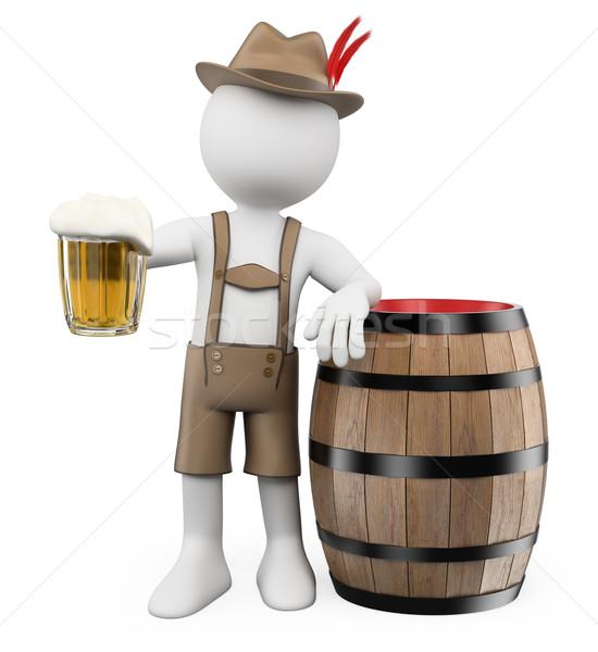 Stockfoto: 3D · witte · mensen · oktoberfest · man · bier · vat