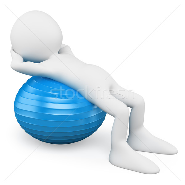 3D white people. Man exercising with a aerobics ball Stock photo © texelart