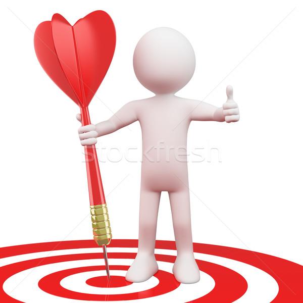 Man with a red dart on target bull's eye Stock photo © texelart
