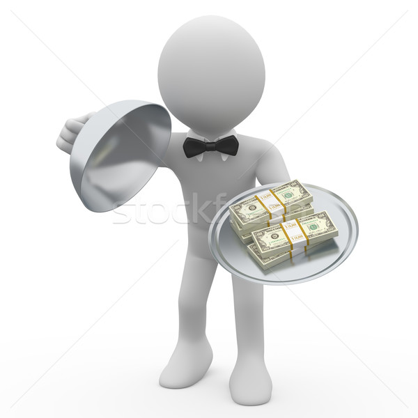 Waiter serving tray five wads of dollars Stock photo © texelart