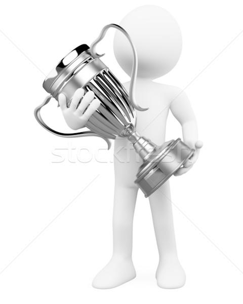 3d ember ezüst trófea kezek renderelt magas Stock fotó © texelart