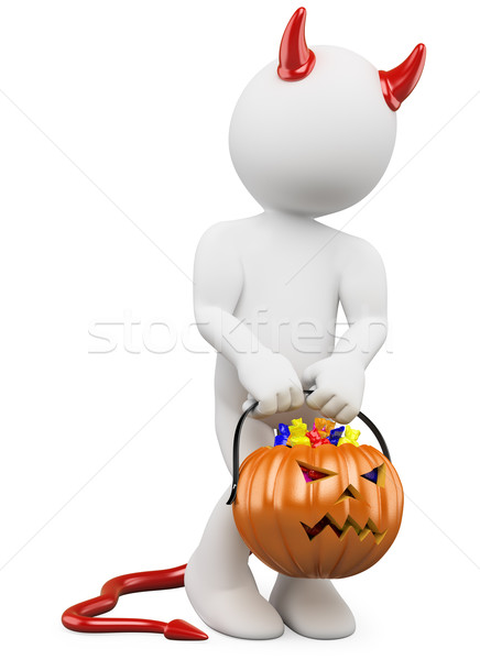 3D halloween white people. Child dressed as devil with a pumpkin Stock photo © texelart