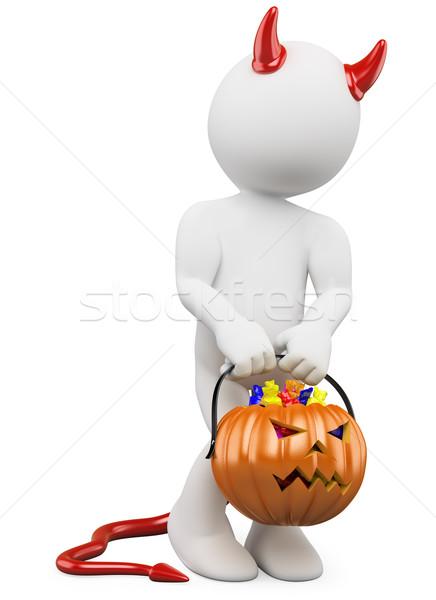 3D halloween biali ludzie dziecko diabeł dynia Zdjęcia stock © texelart