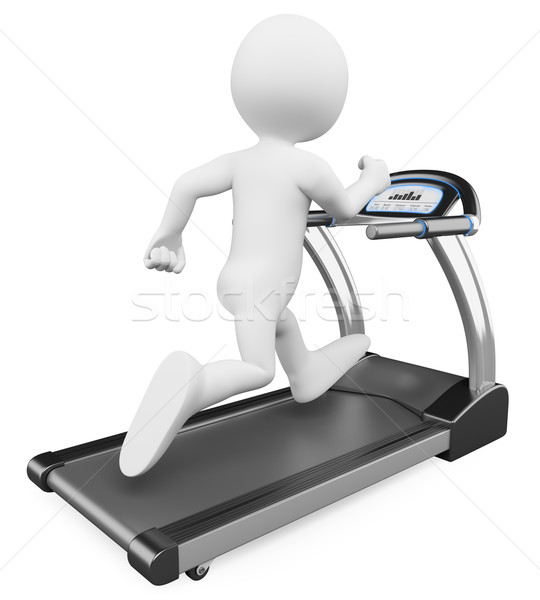 3D white people. Running on a treadmill Stock photo © texelart