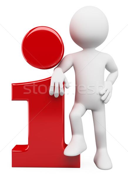 3D white people. Info icon Stock photo © texelart
