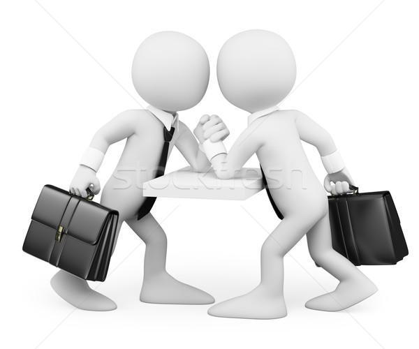 3D witte mensen zakenlieden arm worstelen business concurrentie Stockfoto © texelart