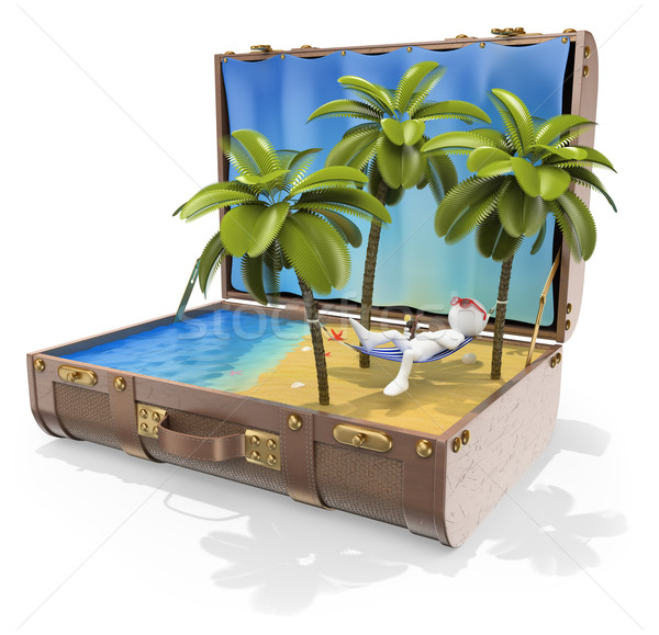 3D witte mensen reisbestemmingen caribbean eilanden ontspannen Stockfoto © texelart