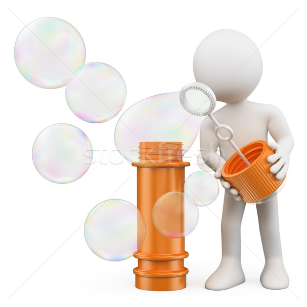 3D white people. Man blowing soap bubbles Stock photo © texelart