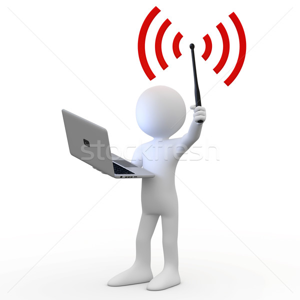 Man standing with laptop and wifi antenna Stock photo © texelart