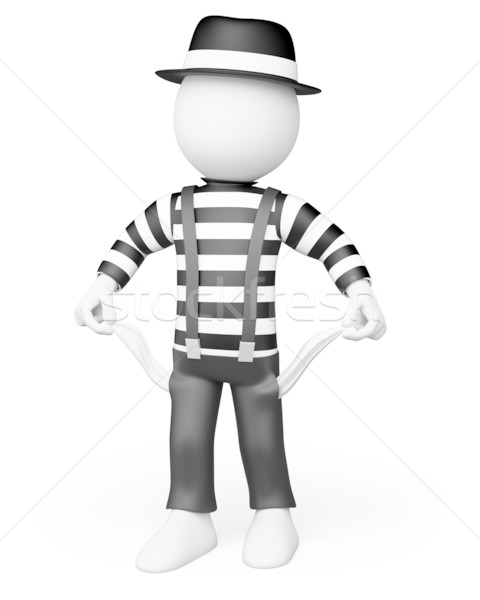 3D white people. Mime showing his empty pockets Stock photo © texelart