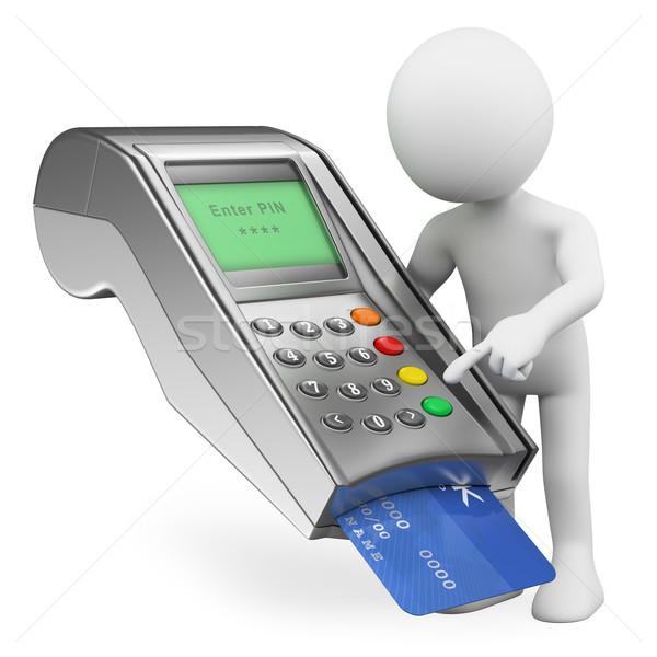 3D beyaz insanlar kredi kartı banka yalıtılmış Stok fotoğraf © texelart