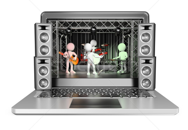 3D white people. Concert in a laptop. Video streaming concept Stock photo © texelart
