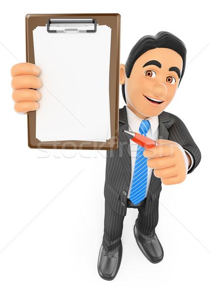 3D empresário clipboard caneta pessoas de negócios isolado Foto stock © texelart