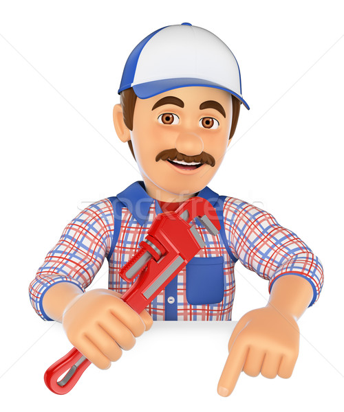 3D Plumber with a pipe wrench pointing down. Blank space Stock photo © texelart
