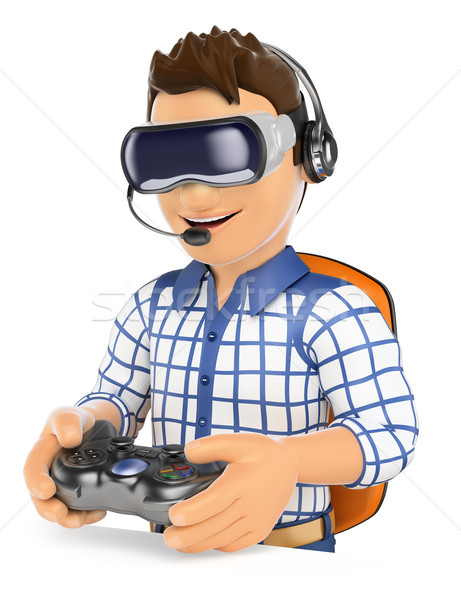 Stock photo: 3D Young gamer playing with virtual reality glasses. VR