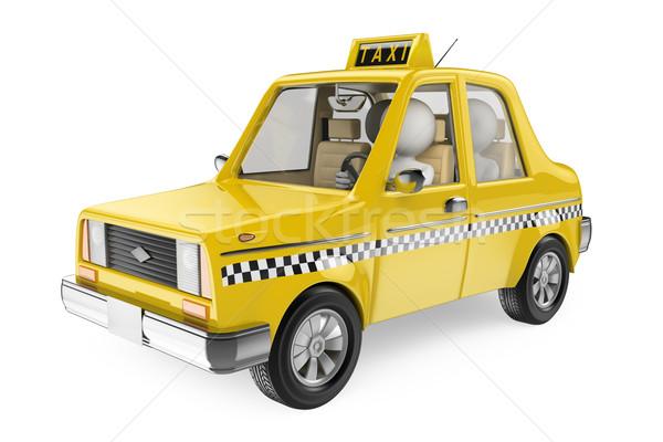 3D pessoas brancas táxi casal isolado branco Foto stock © texelart
