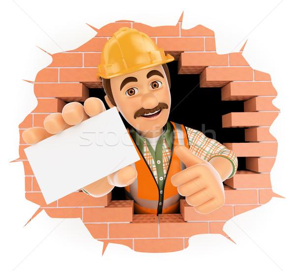 3D işçi dışarı duvar delik boş kart Stok fotoğraf © texelart