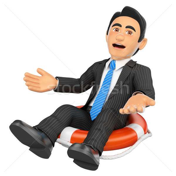 3D üzletember ül becsődölt cég üzletemberek Stock fotó © texelart