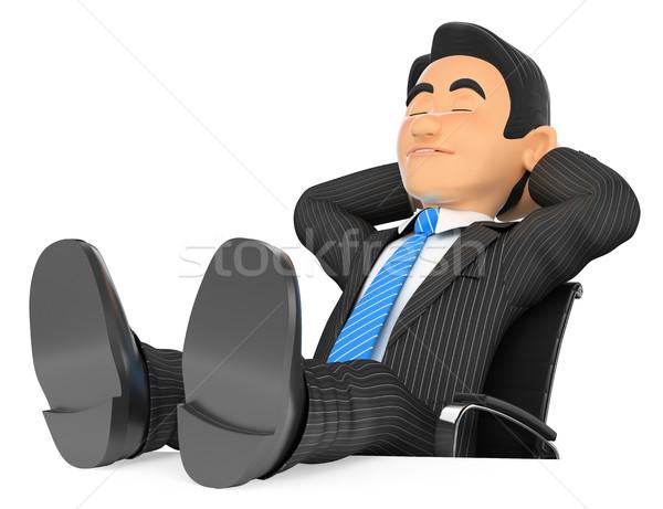 Сток-фото: 3D · бизнесмен · спальный · ног · вверх