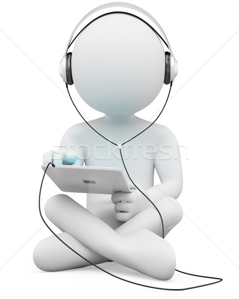 3D white people. Tablet and headphones Stock photo © texelart