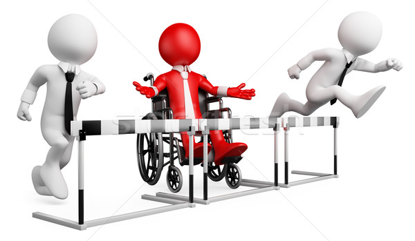 3D businessman white people. Barriers at work for disabled Stock photo © texelart