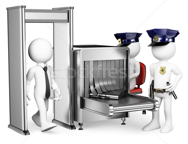 3D white people. Security control airport access. Metal detector Stock photo © texelart