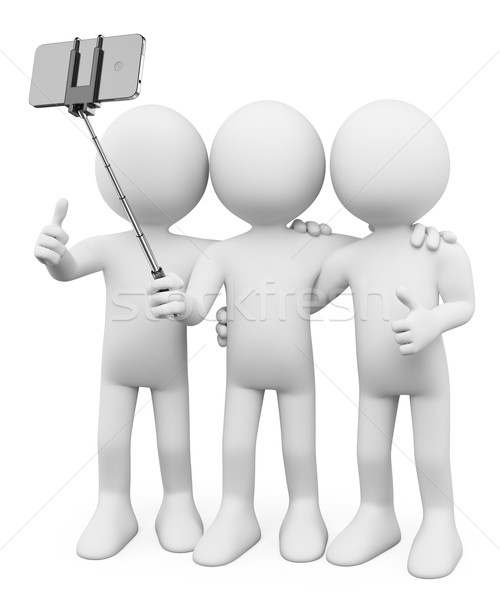 3D white people. Friends taking a photo with a selfie stick Stock photo © texelart