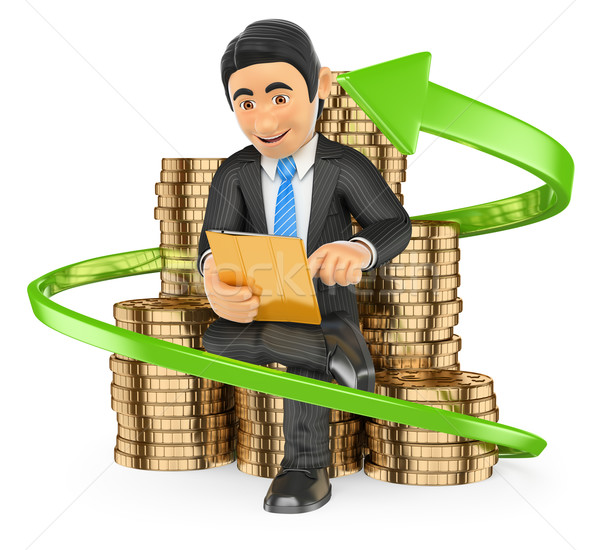 3D Businessman on a pile of coins buying stocks with his tablet. Stock photo © texelart