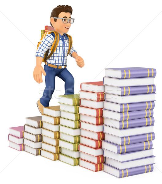 3D Young student climbing a books bar graph Stock photo © texelart