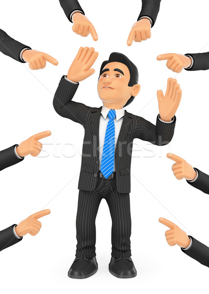 3D empresario fuera muchos dedos gente de negocios Foto stock © texelart