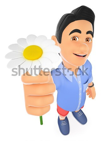 3D Weather man with a sun. Sunny day Stock photo © texelart