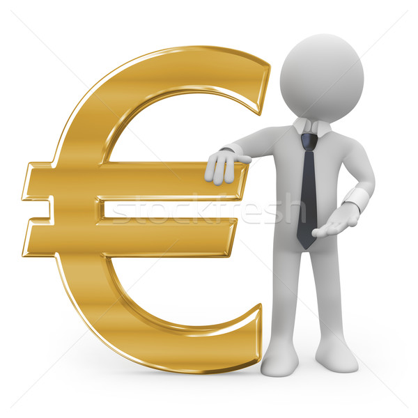 Business man leaning on the euro sign Stock photo © texelart
