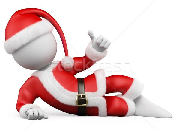 3D Natale i bianchi babbo natale pollice up Foto d'archivio © texelart